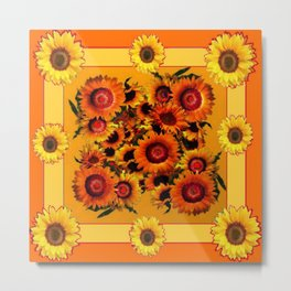 ORANGE YELLOW SUNFLOWERS ART Metal Print