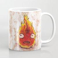 calcifer Mugs featuring Burning Calcifer by KeithKarloff