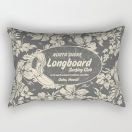 Club Surfing Longboard Logo and Hibiscus Hawaiian Print  Rectangular Pillow