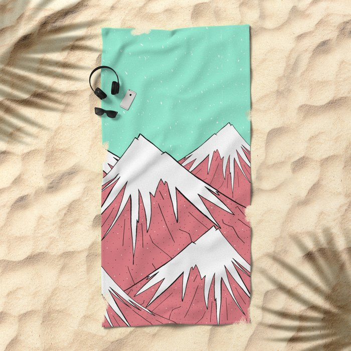 The mountains and the sky Beach Towel
