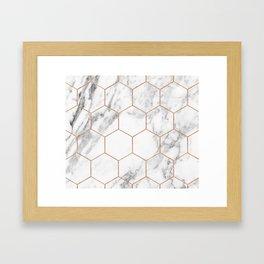Rose gold marble hexagons honeycomb pattern Framed Art Print