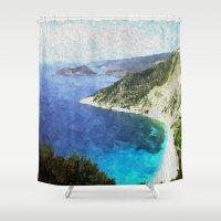 greek Shower Curtains featuring Greek coastline by Brian Raggatt
