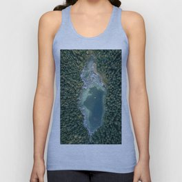Aerial photo of a magic lake hidden inside a pine forest Unisex Tank Top