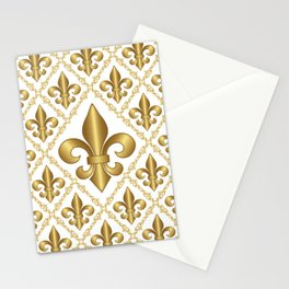 Gold Fleur-de-Lis Pattern Stationery Cards