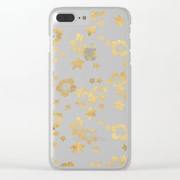 Gold Tropical Flowers Clear iPhone Case