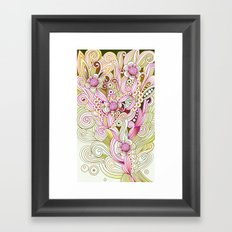 Flower fire | yellow, purple, green and ocre Framed Art Print