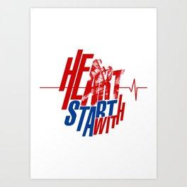 Heart start with Art Art Print