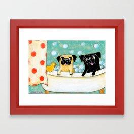 Pug Bath Time cute pug painting by TASCHA Framed Art Print