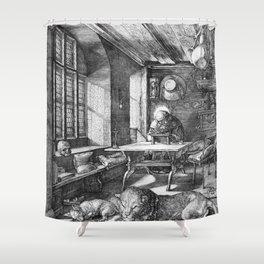 Saint Jerome in His Study by Albrecht Dürer Shower Curtain