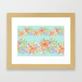 tropical hawaiian flowers aqua Framed Art Print