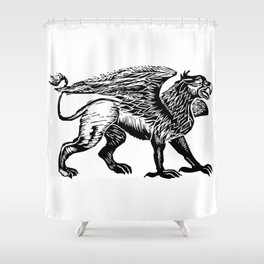 Gryphon-Black Shower Curtain