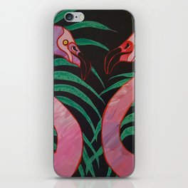 Birthday Flamingos iPhone Skin
