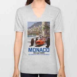 1965 Monaco Grand Prix Racing Poster Unisex V-Neck
