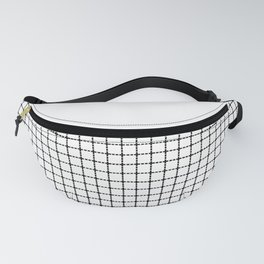 Dotted Grid Black on White Boarder Fanny Pack