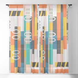 Modern abstract construction Sheer Curtain