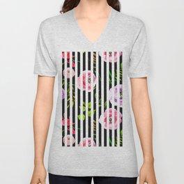 Pink lavender green watercolor floral stripes Unisex V-Neck
