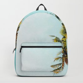 Two Green Tropical Palm Trees Blue Sky Beach Trees Caribbean Vibes Backpack