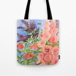 Cottage Garden Butterfly Bush Watercolor Illustration Tote Bag