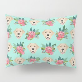 Yellow Labrador Retriever floral bouquet flowers yellow lab dog breed pattern gifts Pillow Sham