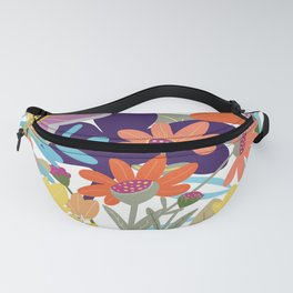 The Tangled Garden Colourful Illustration, Poster Art, Graphic Design Fanny Pack
