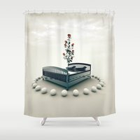 bed Shower Curtains featuring Bed by Pedro Alvarez