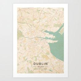 Dublin, Ireland - Vintage Map Art Print