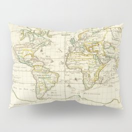 Vintage Map Print - 1674 World Trade and Hydrographic Map Pillow Sham