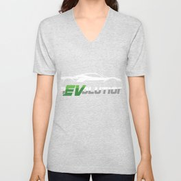 Modern Car Enthusiast Eco Friendly Car Driver Electric Car Lover Revolution EV Car Gift Unisex V-Neck
