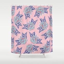 Cabbage Rose Tattoo Flash Shower Curtain