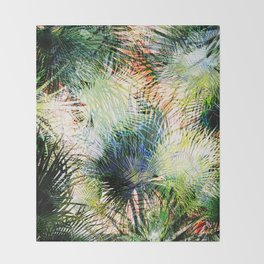 Modern palm leaves tropical abstract design Throw Blanket