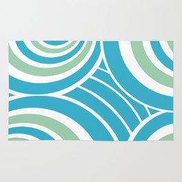 Turquoise and Mint Abstract Rug