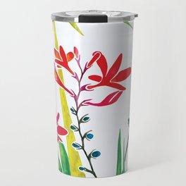 Montbretias, Orange Flower, Watercolour Travel Mug
