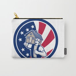 American House Removal USA Flag Icon Carry-All Pouch