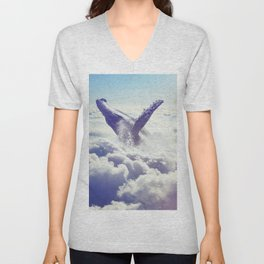 Cloudy whale Unisex V-Neck