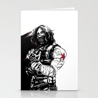 winter soldier Stationery Cards featuring Winter Soldier by Irene Flores