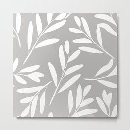 Prints of Leaves, White on Gray, Art Prints Modern Metal Print