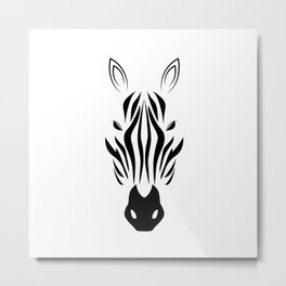 Black And White Zebra Metal Print