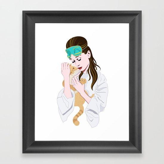 Holly Golightly's cat / Audrey Hepburn Framed Art Print
