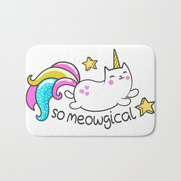 Kawaii Meowgical Glittery Unicorn cat Bath Mat