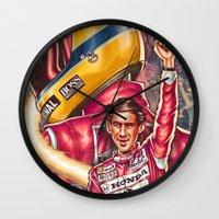 senna Wall Clocks featuring Ayrton Senna do Brasil by Renato Cunha