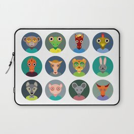 Chinese zodiac collection, Set of animals faces circle icons in Trendy Flat Style Laptop Sleeve