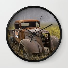 Vintage Chevy Pickup for Sale in a Field of Grass Wall Clock