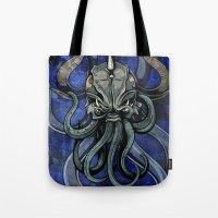 kraken Tote Bags featuring Kraken by Spooky Dooky