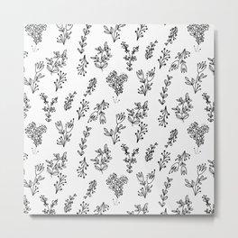 Floral White Pattern Metal Print