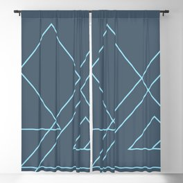 Blue Triangles Abstract Blackout Curtain
