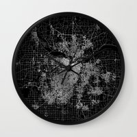 kansas city Wall Clocks featuring Kansas City map by Line Line Lines