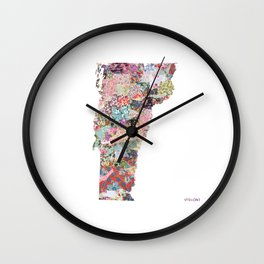 Vermont map Portrait Wall Clock