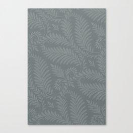 Fancy Leaves Scroll Damask Night Watch Pewter Green Pattern Canvas Print