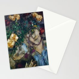 Lovers With Flowers, floral portrait painting by Marc Chagall Stationery Cards