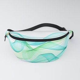 Sea Wave Pattern Abstract Aqua Blue Green Waves Fanny Pack